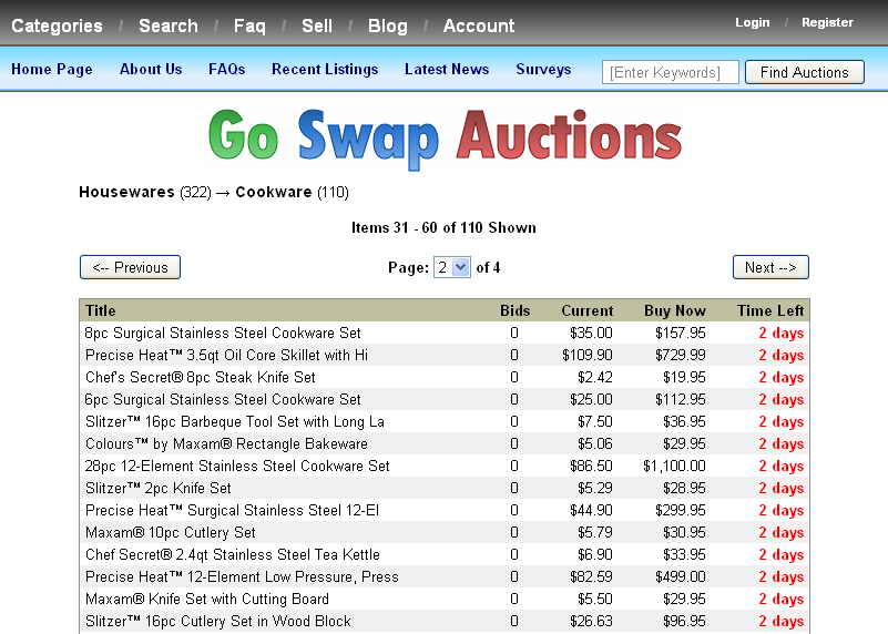 Illustration 4: Auction listings from the Cookware category of Go Swap Auctions