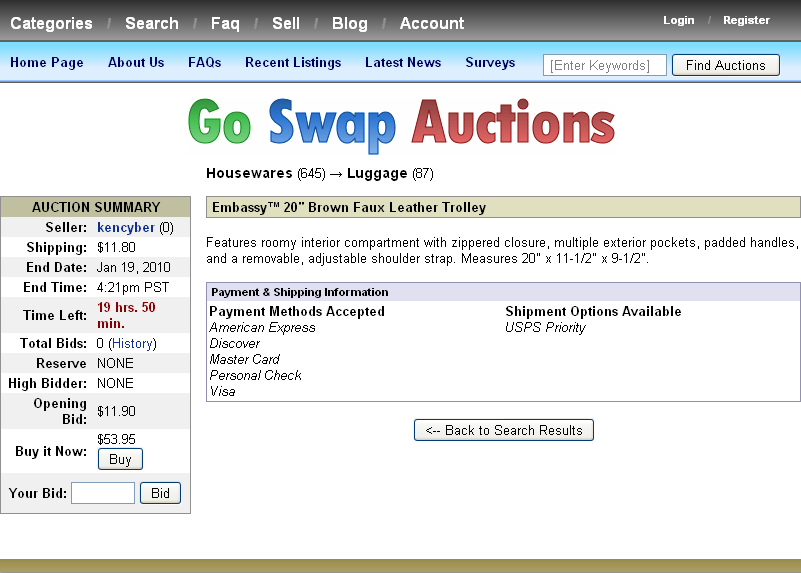 Illustration 5: Auction details shown when clicking an item from the search results