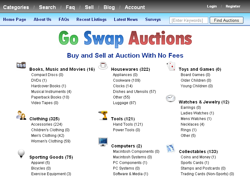 Illustration 1: The home page displaying all auction categories to browse